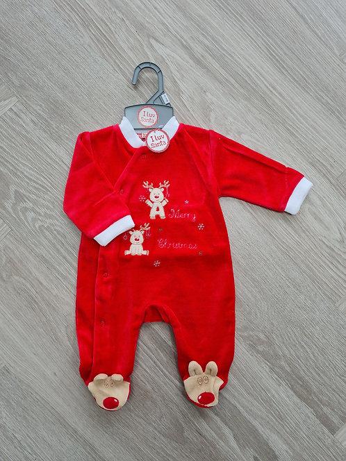 Rudolph Merry Christmas Velour Sleepsuit