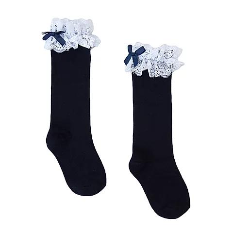Spanish Navy Blue Knee High Lace Socks