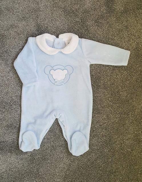 Baby Blue Teddy Bear Velour Sleepsuit