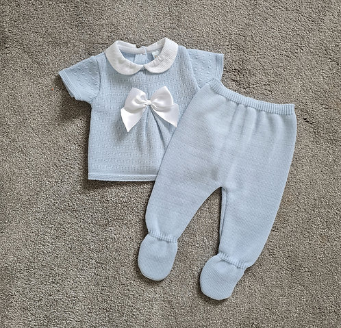 Baby Blue Bow Knitted 2 Piece Set