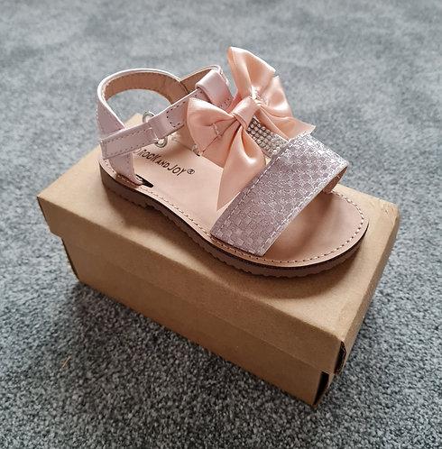 Pink Metallic Bow Velcro Sandals