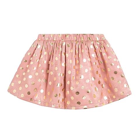 Peach Gold Metallic Polka Dot Skirt