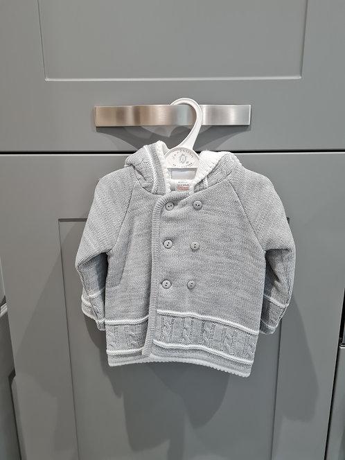 Grey Unisex Chunky Knit Hooded Coat