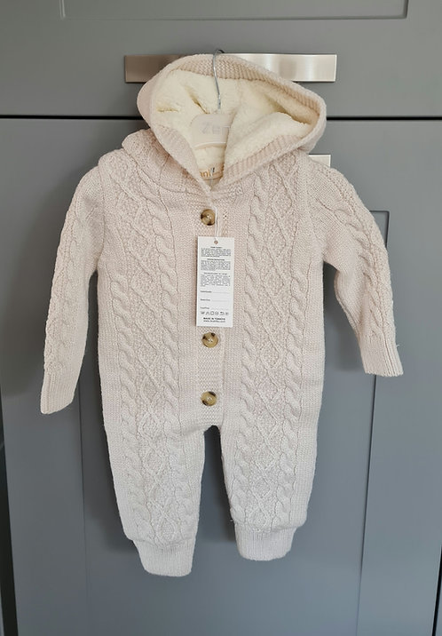 Chunky Beige Cable Knitted Hooded Pramsuit