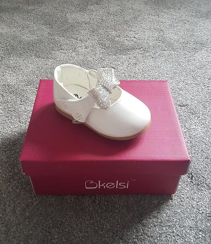 White Diamante Bow Velcro Patent Shoes