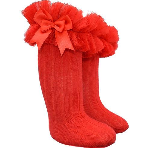 Red Tutu Bow Knee High Socks