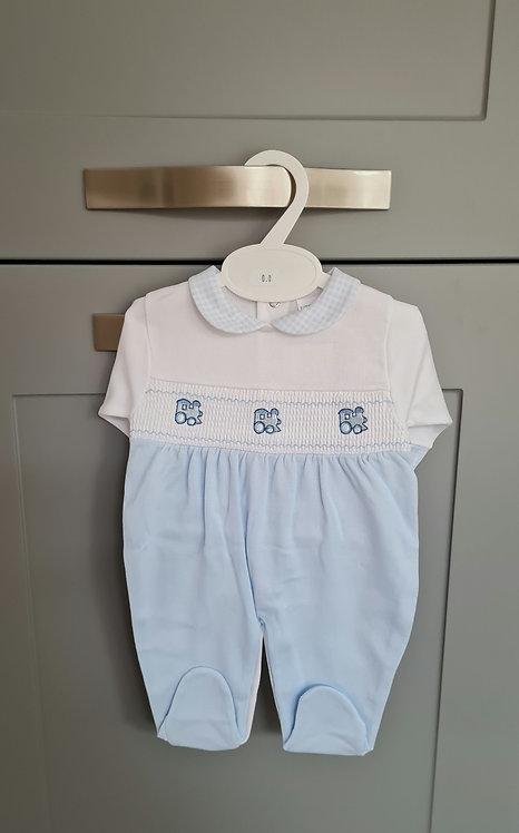 White & Baby Blue Smocked Train Sleepsuit