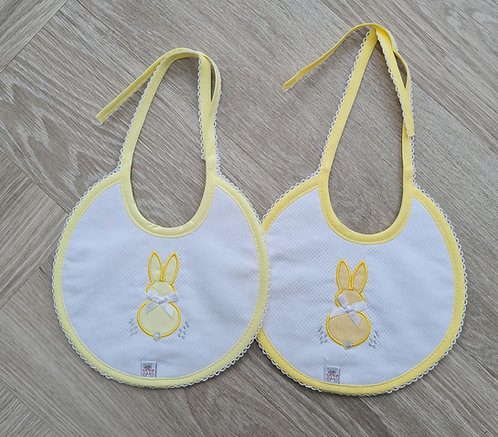 Unisex Yellow Bunny Quilted Bib