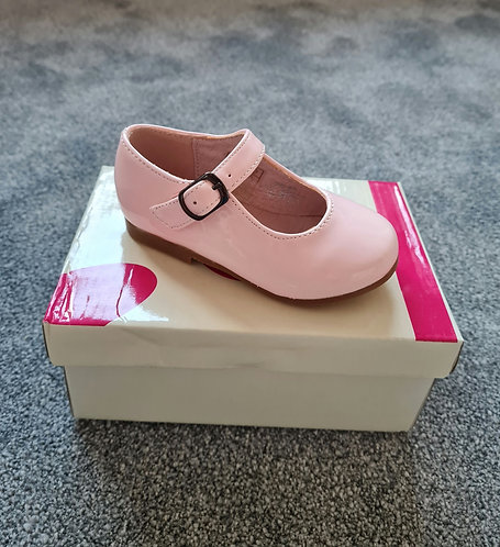 Pale Pink Patent Buckle Hard Sole Shoes