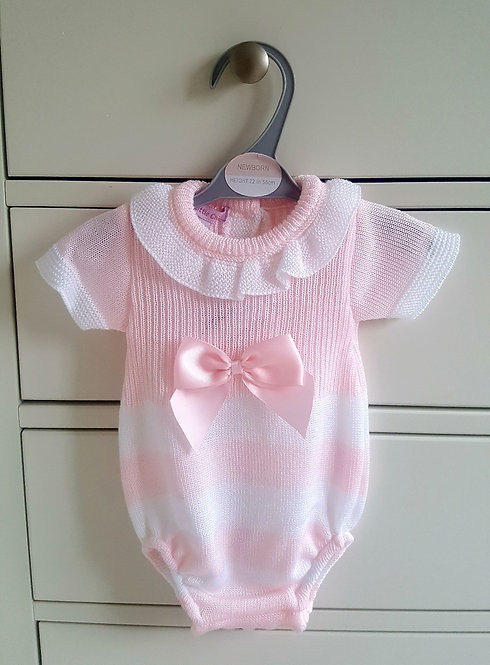 Pink & White Striped Knitted Bow Romper