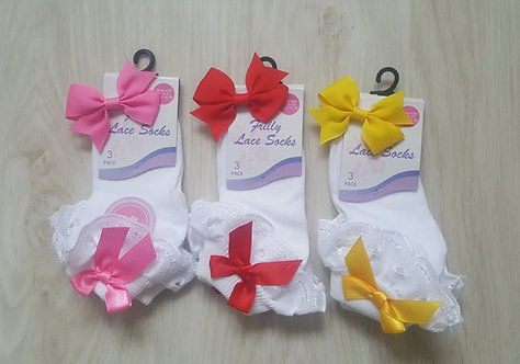 Ankle Bow Socks & Matching Hair Clip Set