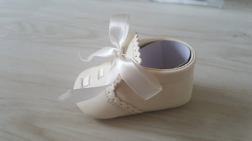 Cream Ribbon Soft Sole Booties