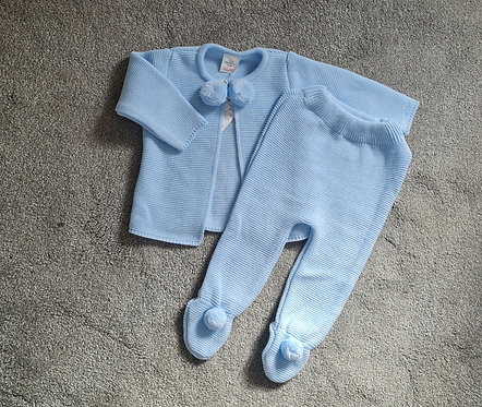 Baby Blue Knitted Pom Pom Set