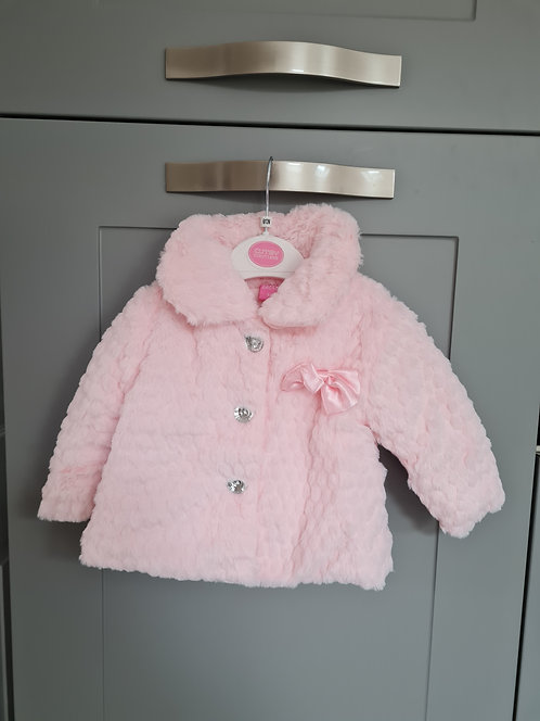 Baby Pink Fluffy Diamante Button Coat