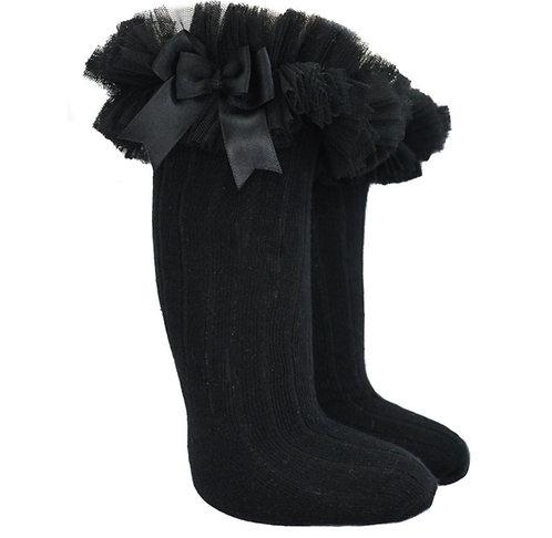 Black Tutu Bow Knee High Socks