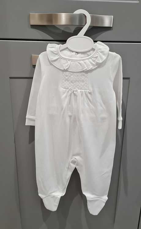 Pure White Frill Collar Smocked Sleepsuit