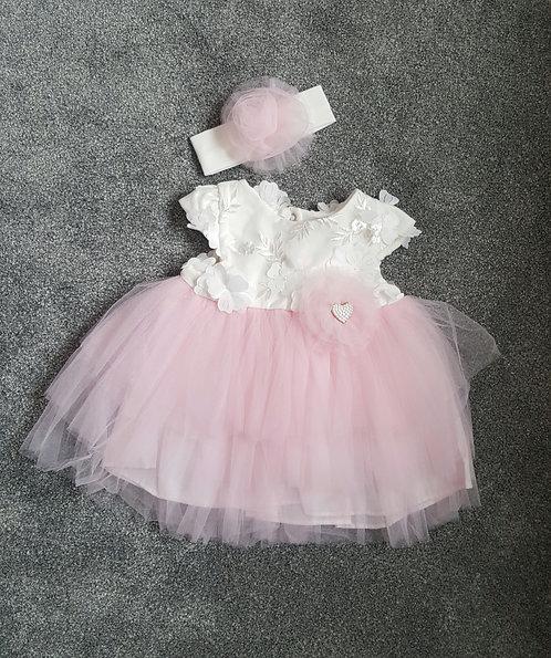 Pretty Pink & Cream Raised Flower Tutu Dress & Headband Set