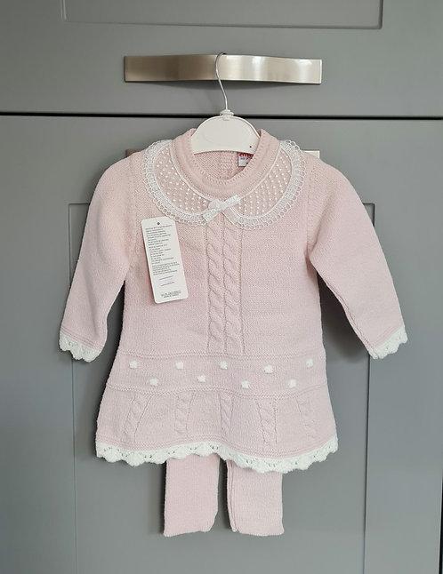 Pink & Cream Knitted Jumper Dress & Trouser Set