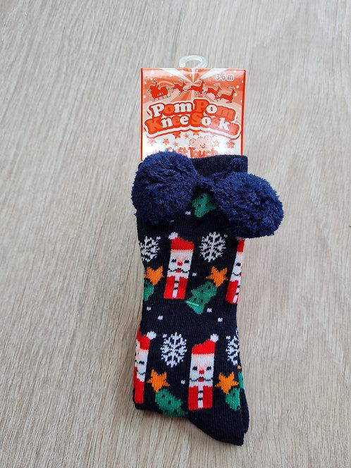 Christmas Unisex Pom Pom Knee Socks