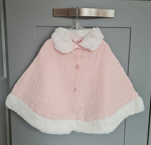 Baby Pink Knitted Cape With White Faux Fur Trim
