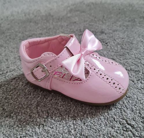 Baby Pink Velcro Bow Shoes