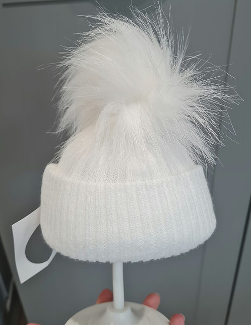 White Knitted Fluffy Winter Pom Pom Hat