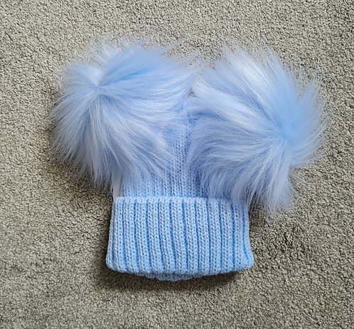 Blue Knitted Faux Fluffy Pom Pom Hat