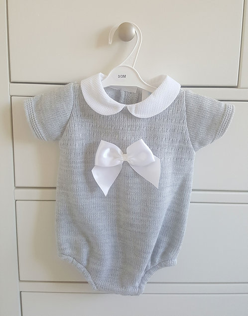 Grey Knitted Bow Romper