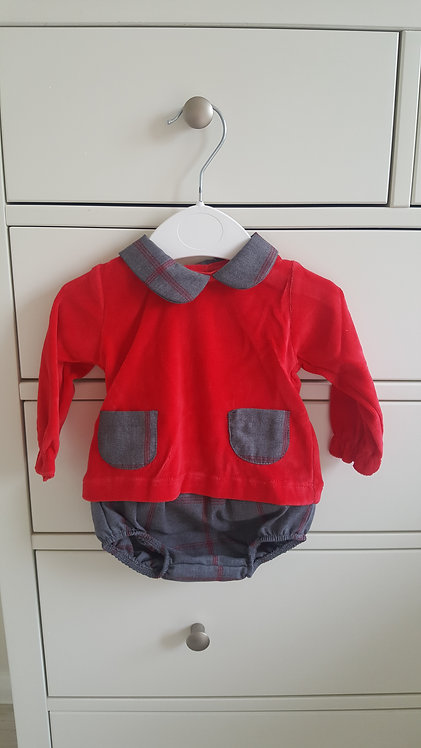 Velour Red Top & Checked Bloomer Set