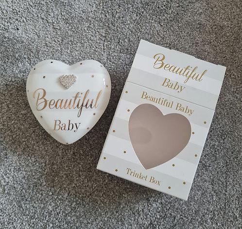 Beautiful Baby Heart Diamante Trinket Box