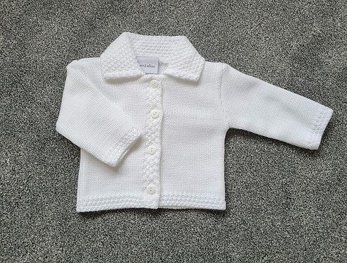 Unisex White Knitted Collar Cardigan