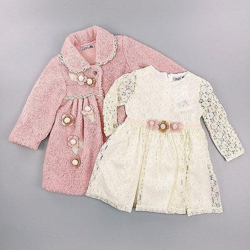 Pink & Cream Winter Coat & Lace Dress Set