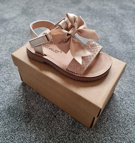 Rose Gold Metallic Bow Velcro Sandals