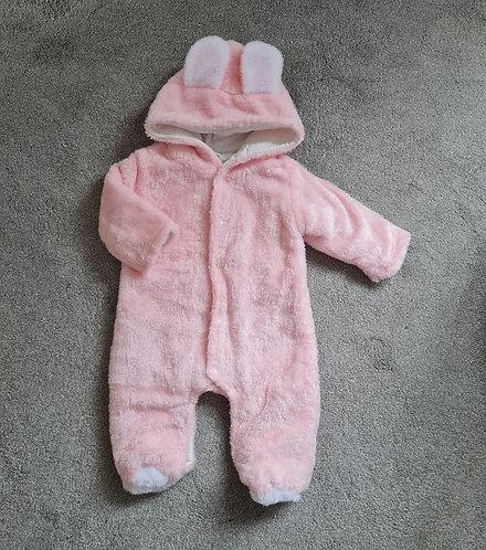 Pink Super Soft Teddy Bear Pramsuit