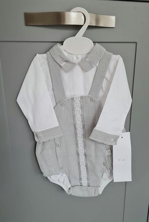 Smart Grey & White Romper Shirt Set
