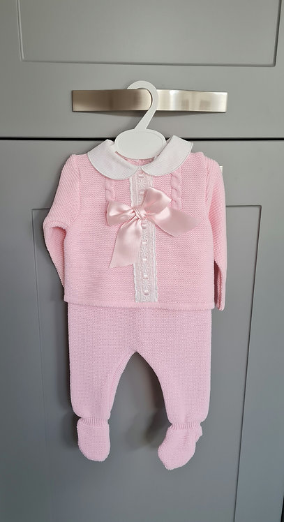Baby Pink Knitted Bow Set