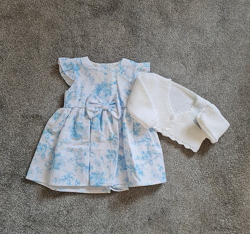 Summer Blue Floral Dress & Cardigan Set