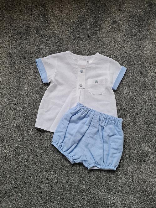 Baby Blue Trim Shirt & Shorts Set
