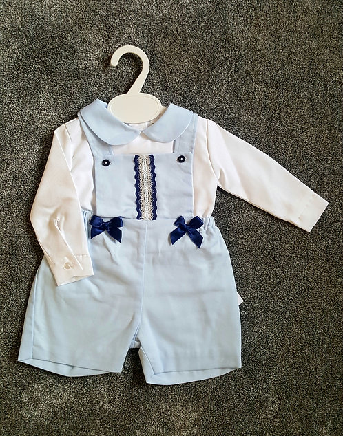Baby Blue & White Bow Dungaree Set