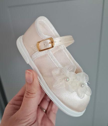 Cream Silky Flower Shoes