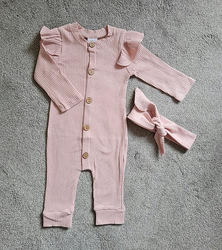 Blush Pink Ribbed Lounge Set & Headband