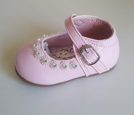 Baby Pink Diamante Hard Sole Shoes