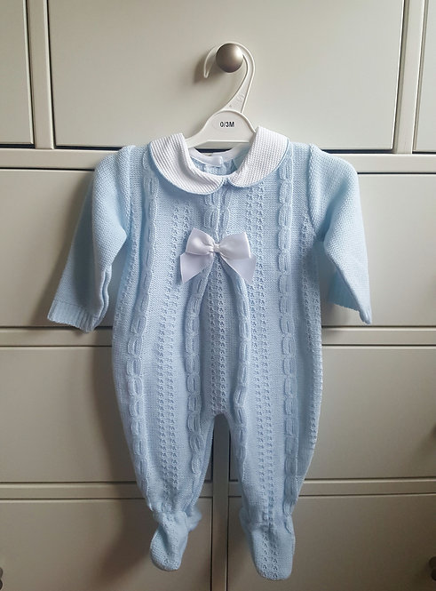 Baby Blue Cable Knitted Bow Sleepsuit