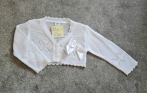 White Bow Bolero Cardigan
