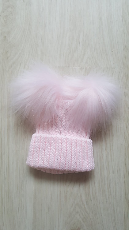Baby Pink Knitted Faux Fluffy Pom Pom Hat