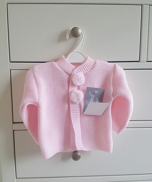 Pink Knitted Pom Pom Cardigan