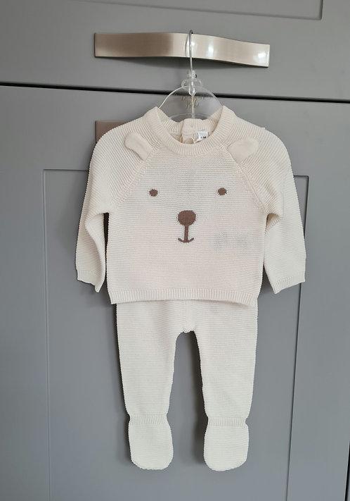 Cream Unisex Teddy Bear Knitted Set