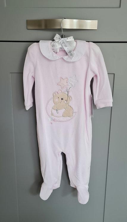 Pale Pink Teddy Velour Sleepsuit