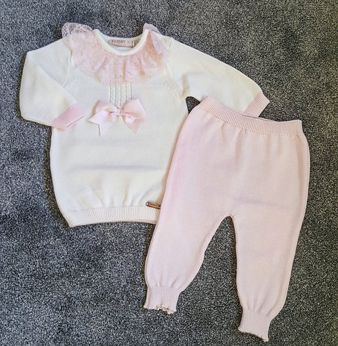Cream & Pink Lace Fine Knit Bow Set