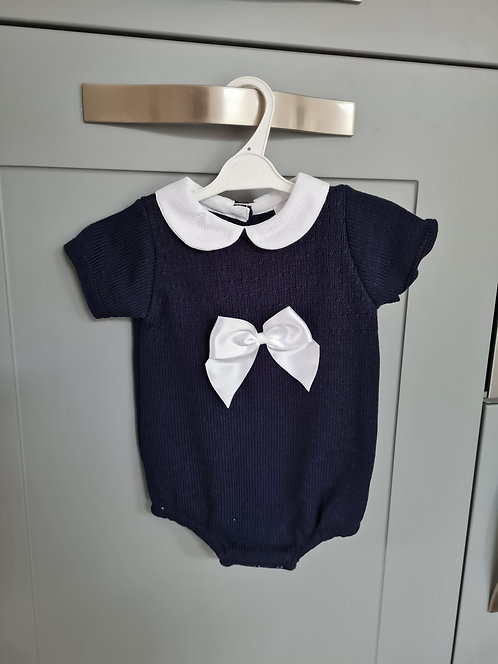 Navy Blue Bow Knitted Romper